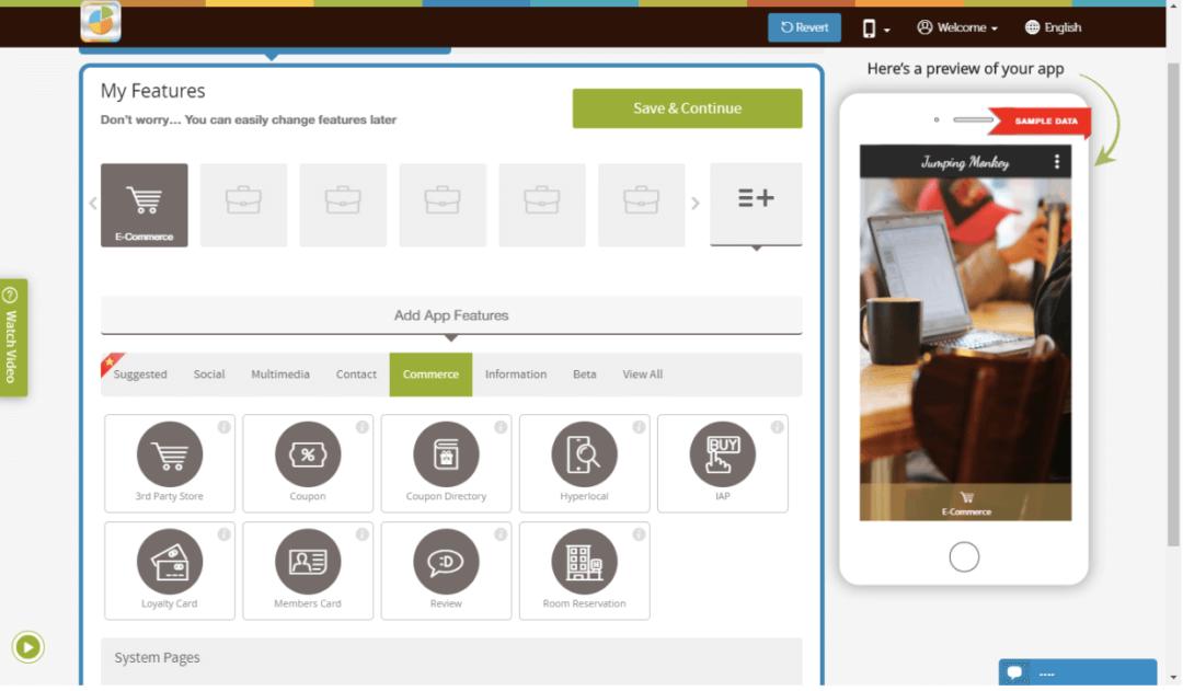Appy Pie App Maker Bildschirmfoto