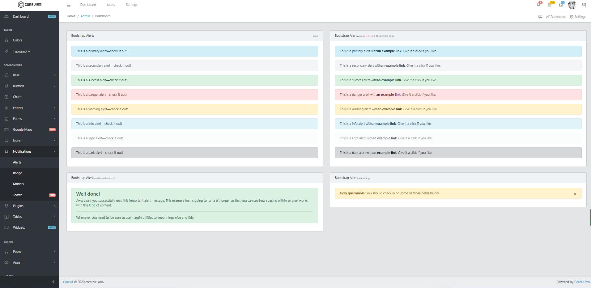 CoreUI PRO スクリーンショット