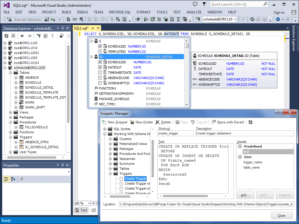 dbForge Fusion for Oracle スクリーンショット