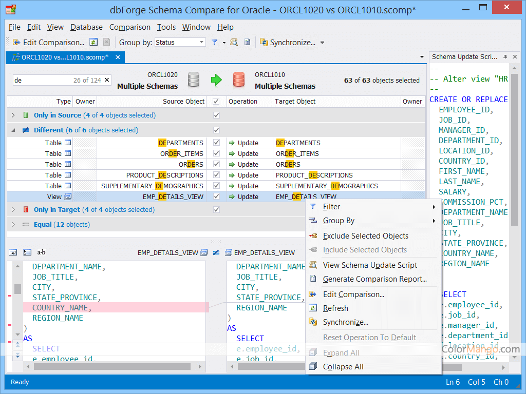 dbForge Schema Compare for Oracle Screenshot