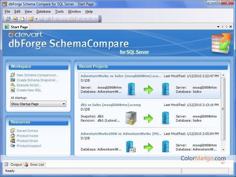 dbForge Schema Compare for SQL Server Screenshot