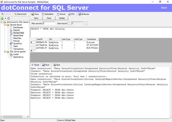 dotConnect for SQL Server Capture D'écran