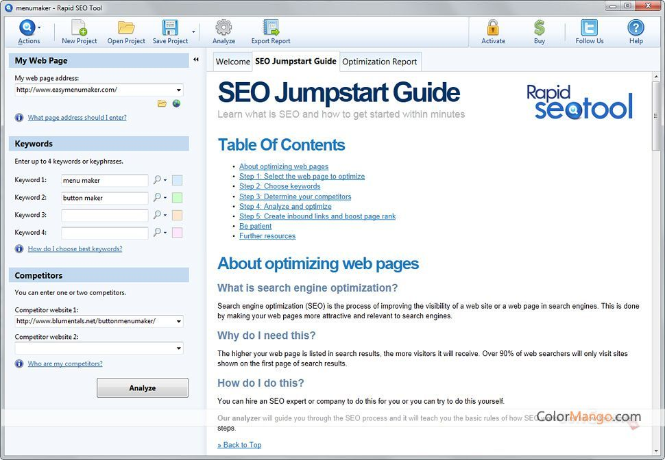 Rapid SEO Tool Screenshot
