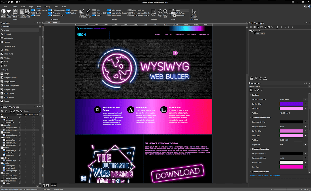 WYSIWYG Web Builder Bildschirmfoto