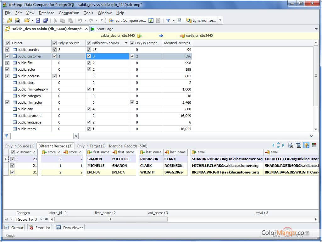 Data Compare for PostgreSQL Screenshot