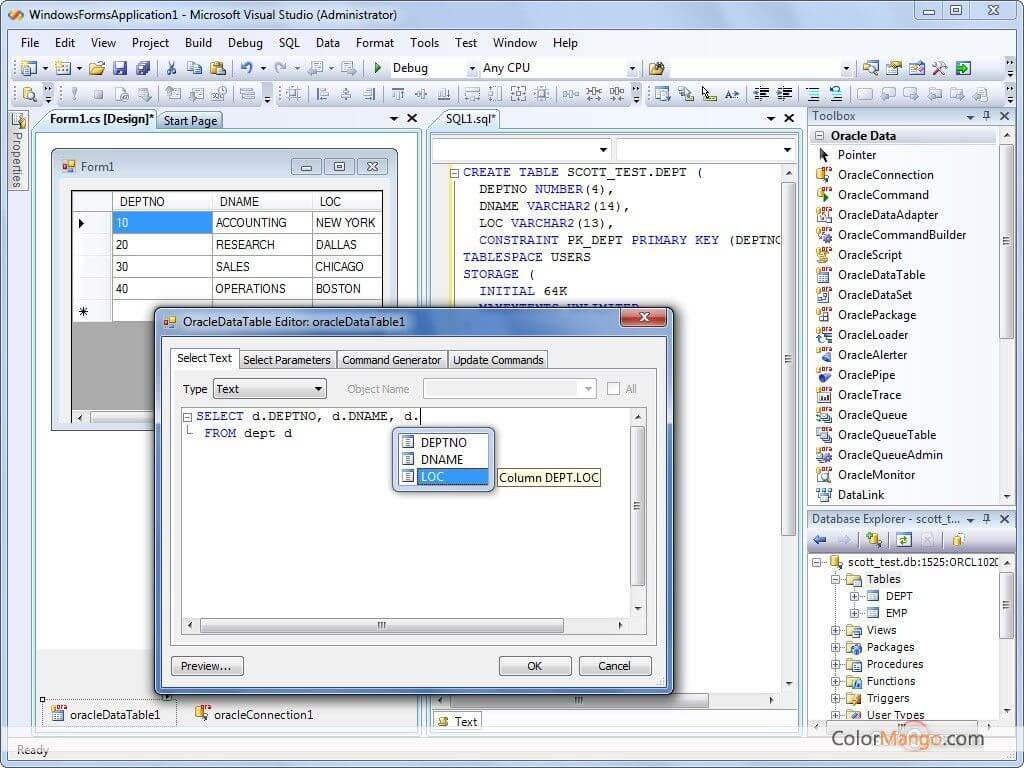 dotConnect for Oracle Screenshot