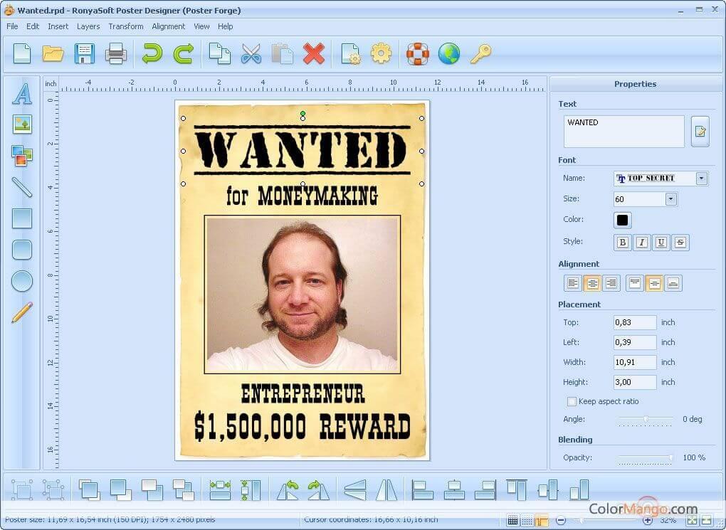 RonyaSoft Poster Designer Screenshot