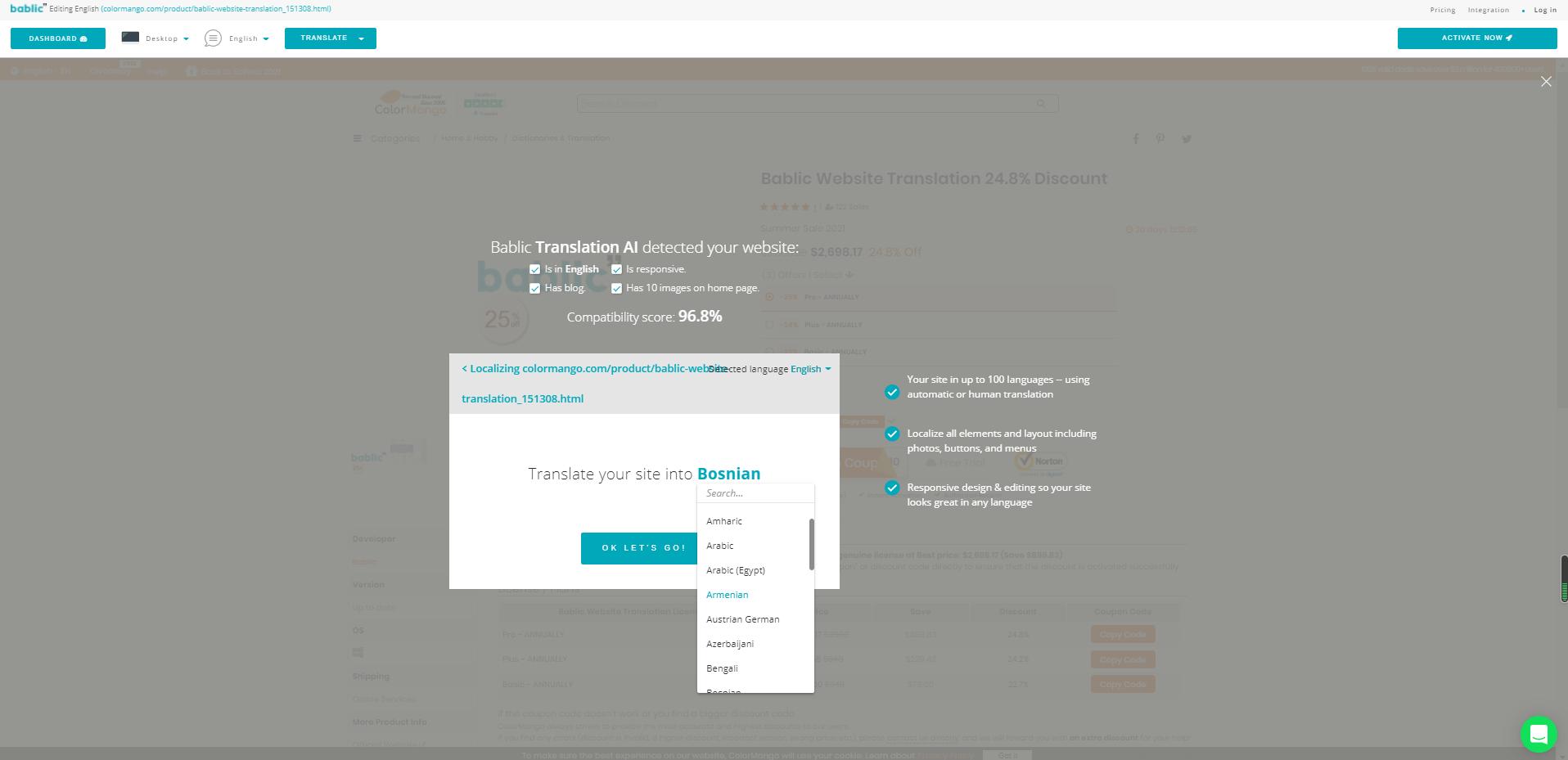 Bablic Website Translation Screenshot
