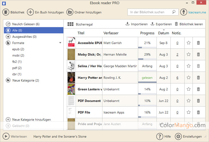 Icecream Ebook Reader Pro Bildschirmfoto