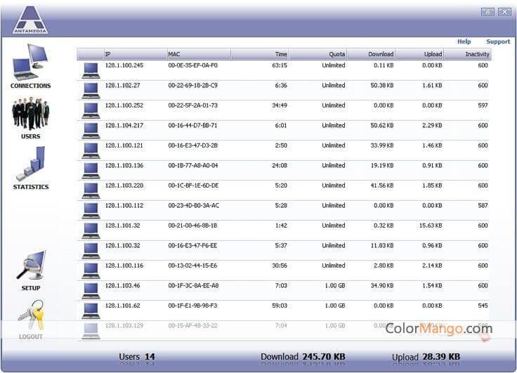 Antamedia Bandwidth Manager Screenshot