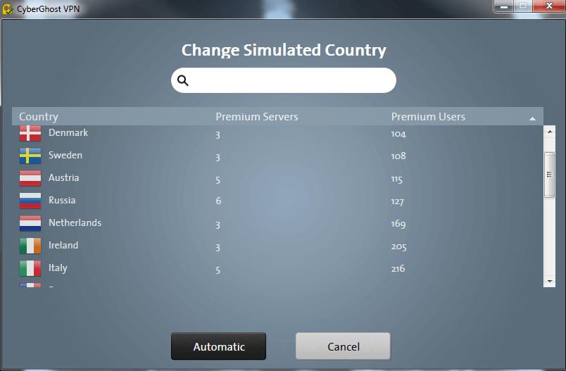 CyberGhost VPN Capture D'écran