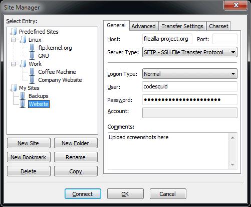 FileZilla Bildschirmfoto