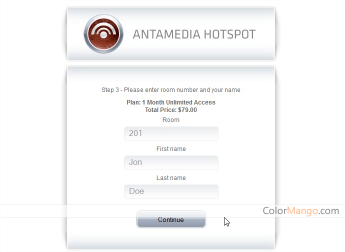 Antamedia Hotel WiFi Screenshot