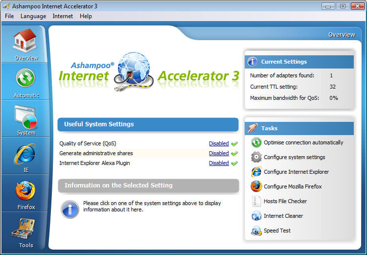 Ashampoo Internet Accelerator Screenshot