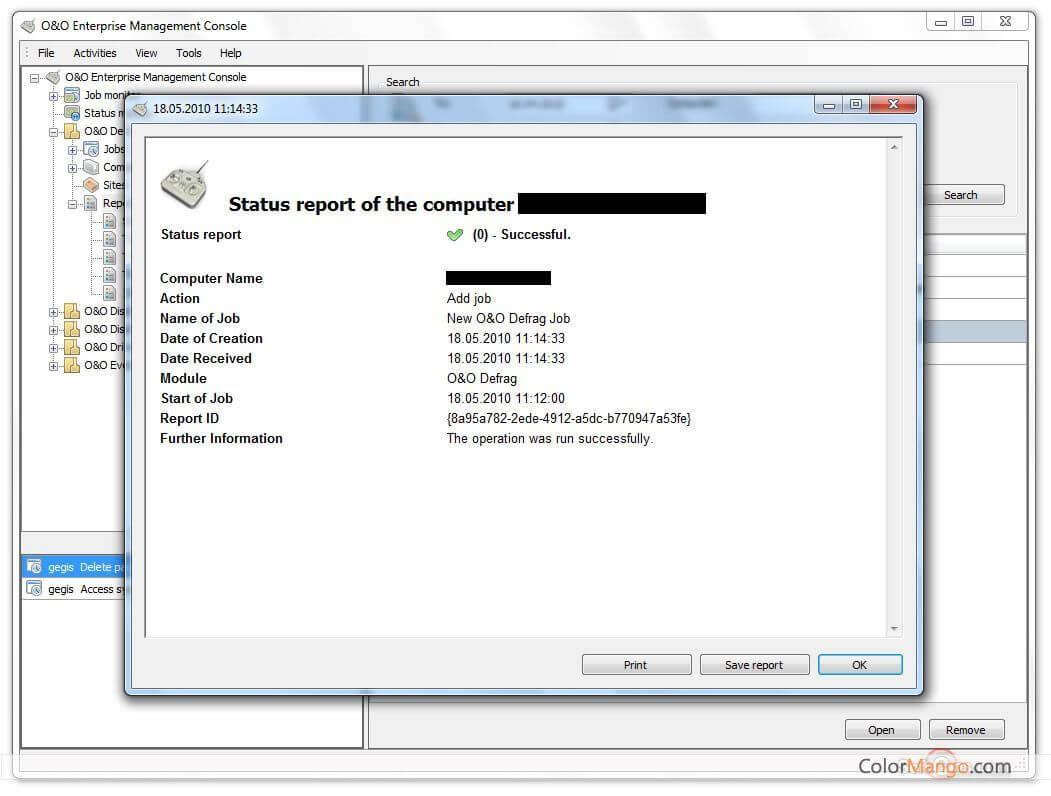 O&O Enterprise Management Console Screenshot