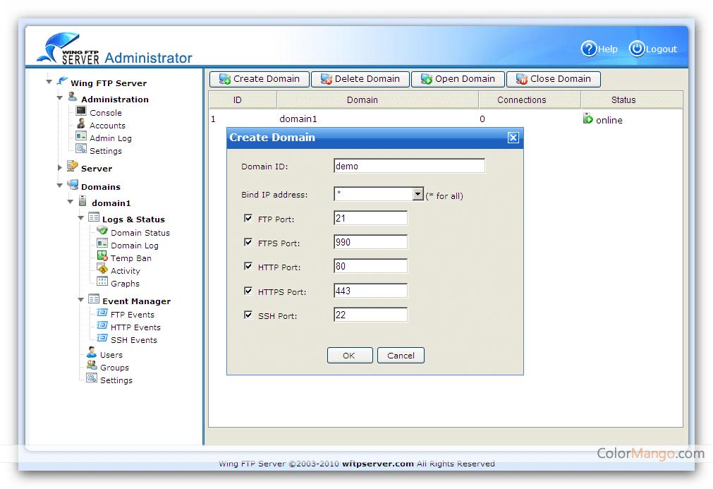Wing FTP Server Screenshot