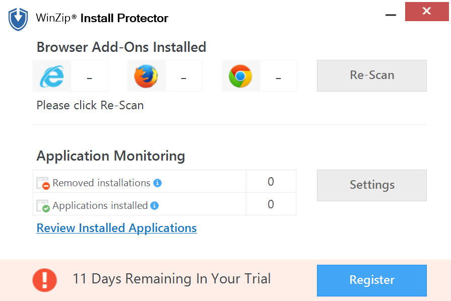 WinZip Install Protector Screenshot