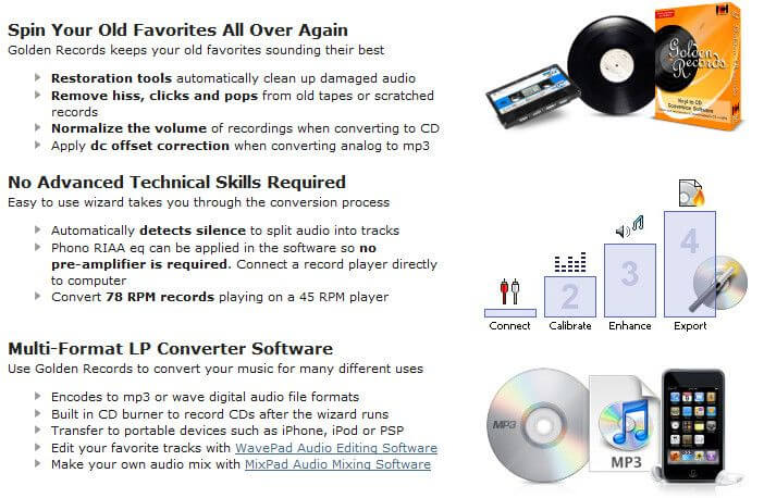 Golden Records Analog to CD/MP3 Converter Feature