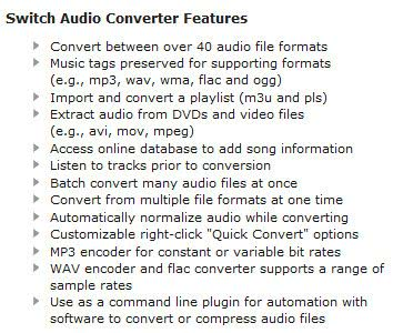 Switch Audio File Converter Software Feature