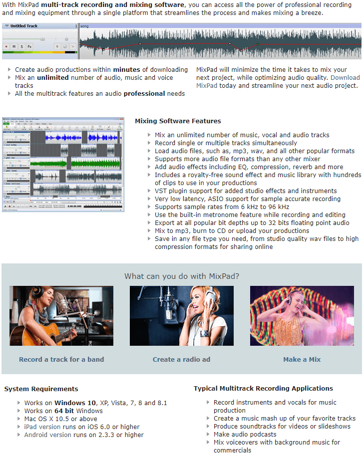 MixPad Multitrack Recording Software Feature