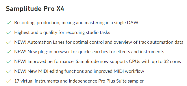 MAGIX Samplitude Pro Feature