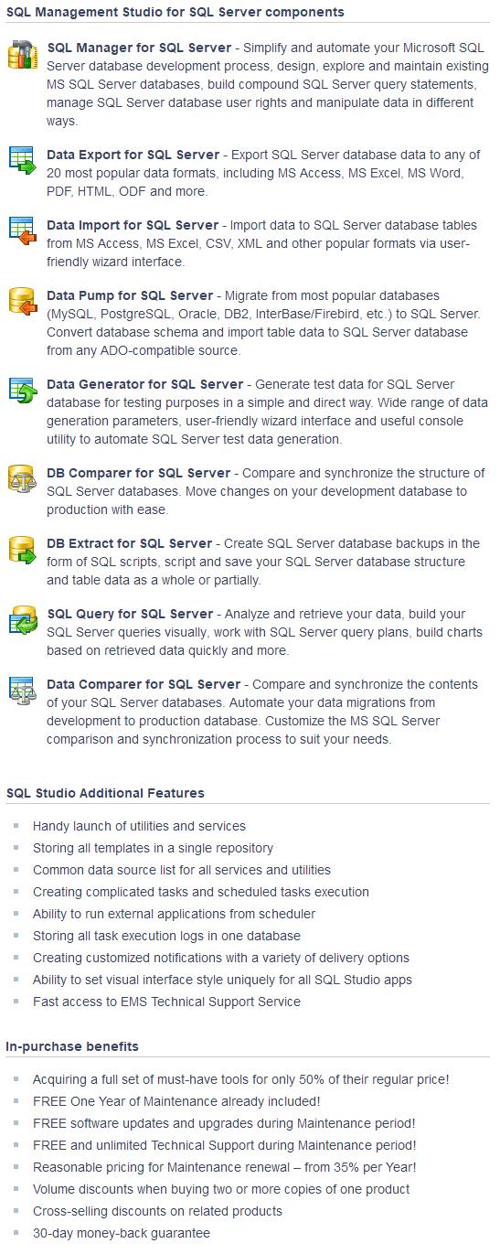 EMS SQL Management Studio for SQL Server $640 Discount