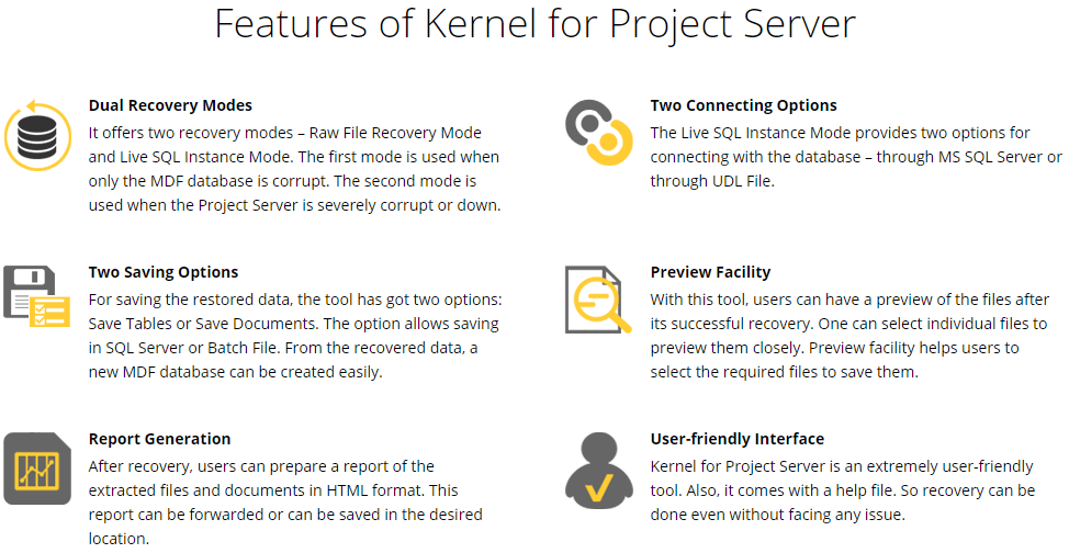 Kernel for Project Server Recovery Feature