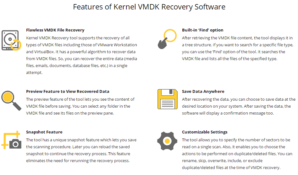 Kernel VMDK Recovery Software Feature