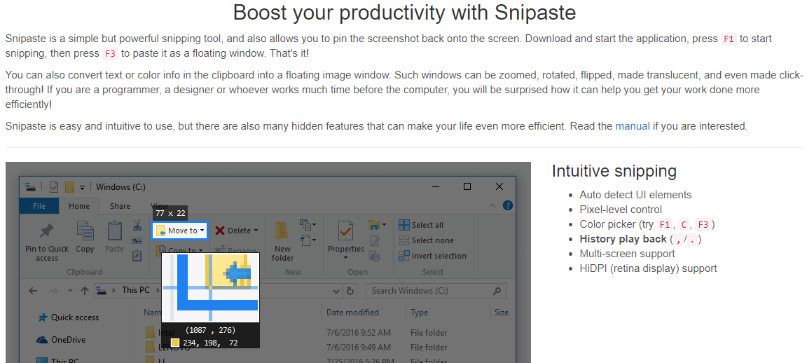 Snipaste Feature