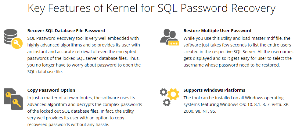 Kernel for SQL Password Recovery Feature