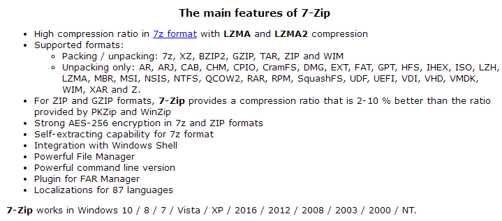 7-Zip Feature