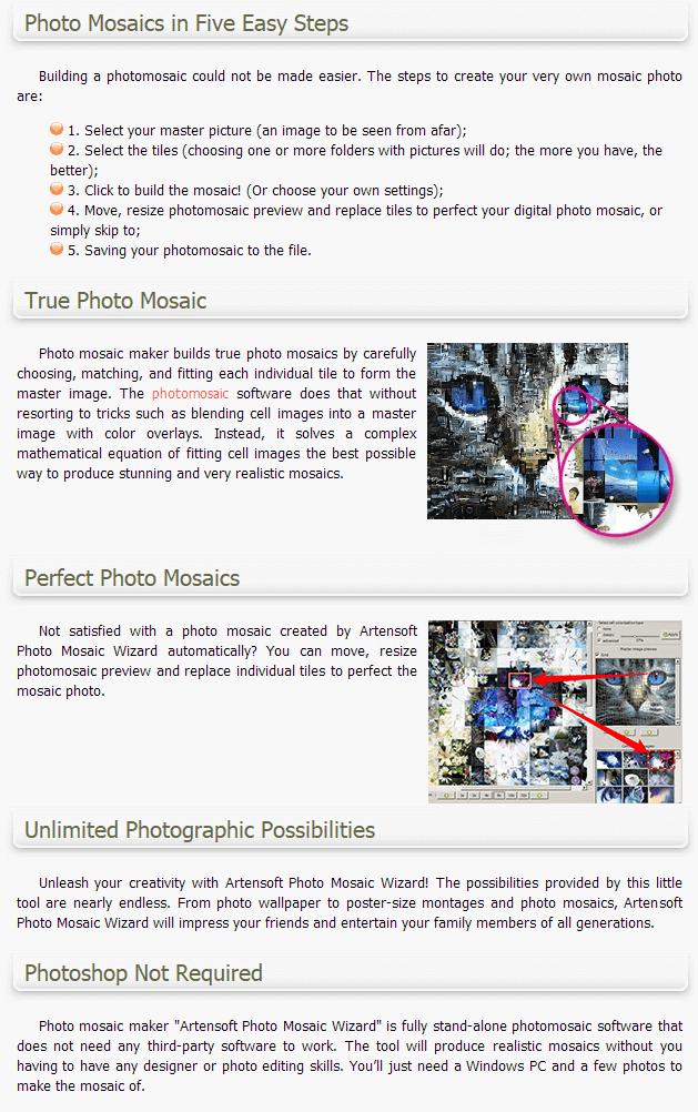 Artensoft Photo Mosaic Wizard 75% Discount