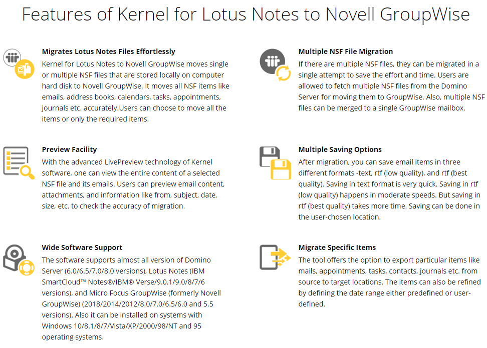 Kernel for Lotus Notes to Novell GroupWise Feature