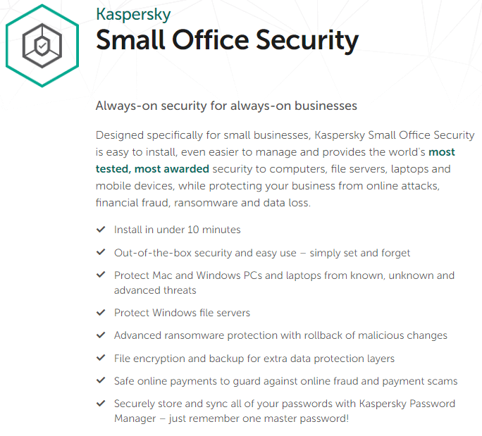 Kaspersky Small Office Security's Feature