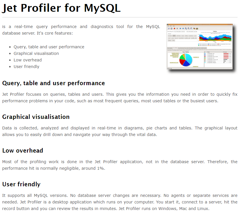 Jet Profiler for MySQL's Feature