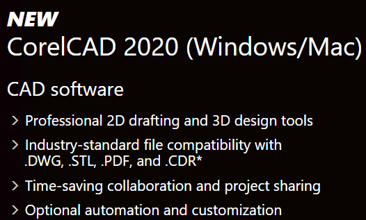 CorelCAD's Feature