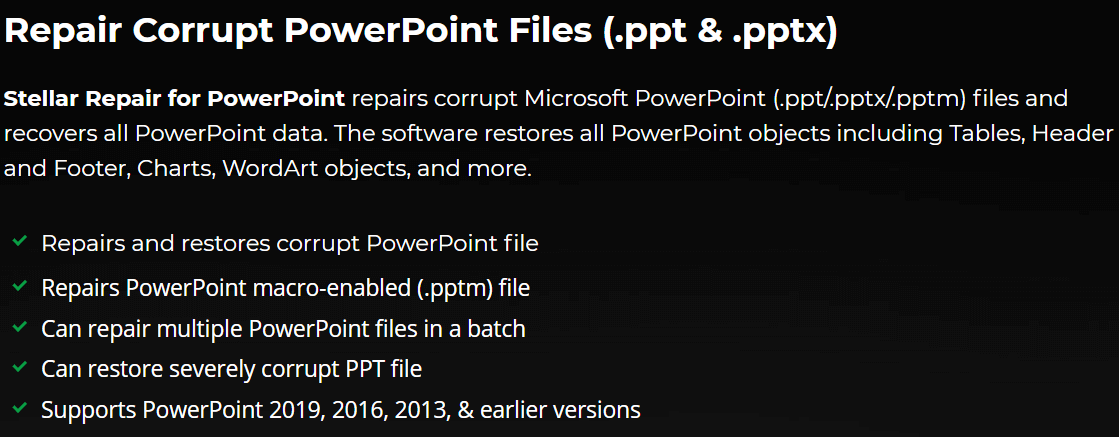 Stellar Repair for PowerPoint's Feature