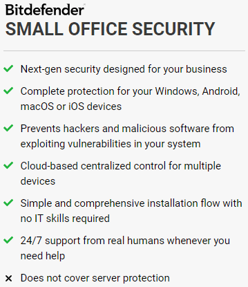 BitDefender Small Office Security's Feature