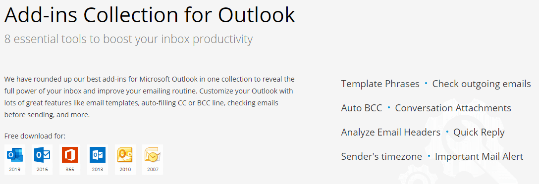Ablebits Add-ins Collection for Microsoft Outlook's Feature