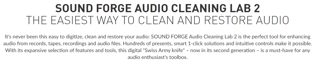 SOUND FORGE Audio Cleaning Lab's Feature