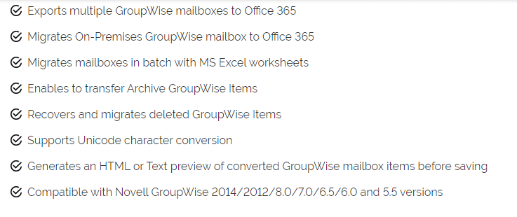 Kernel Office 365 Migrator for GroupWise's Feature