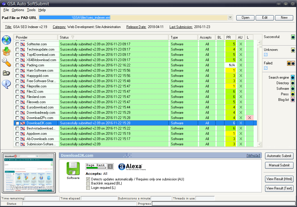 GSA Auto SoftSubmit Screenshot