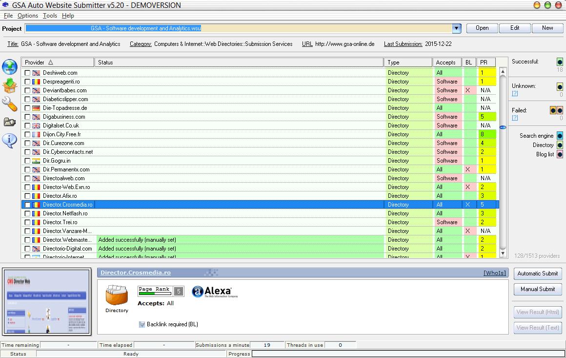 GSA Auto Website Submitter Screenshot