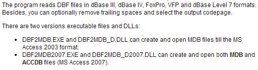 DBF to MDB (Access) Converter Feature