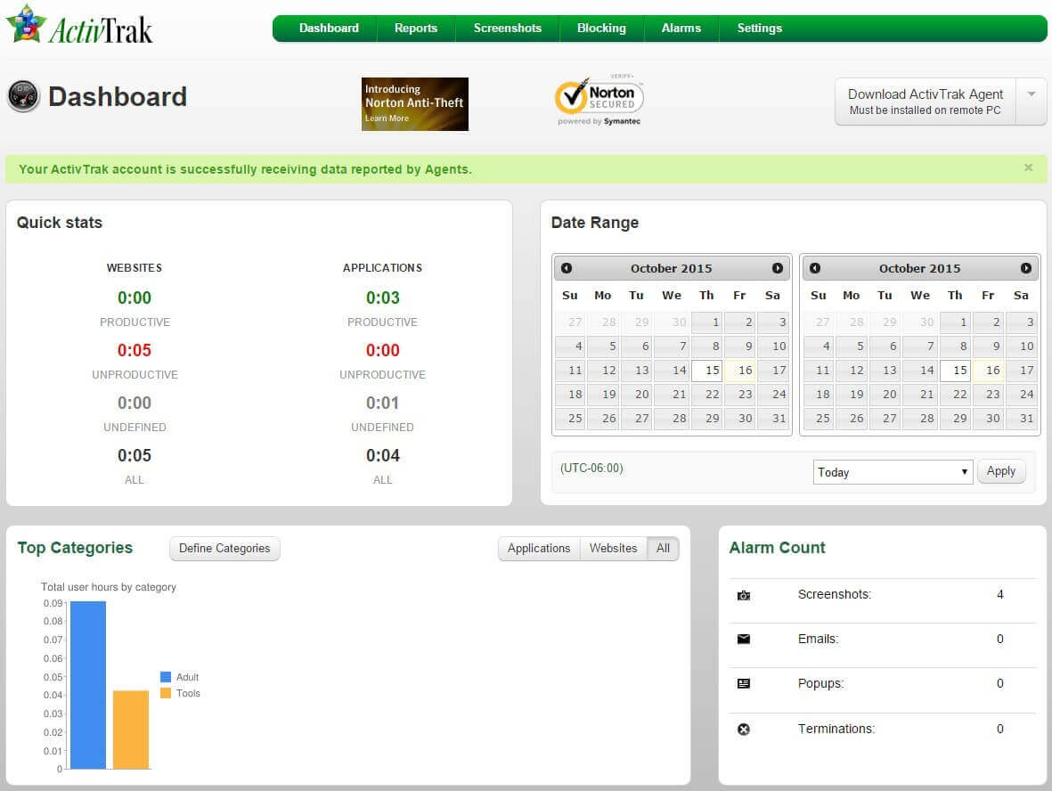 ActivTrak Bildschirmfoto