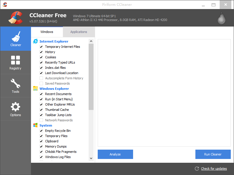 CCleaner Free Screenshot