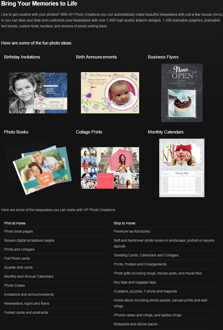 HP Photo Creations Official Download - Freeware