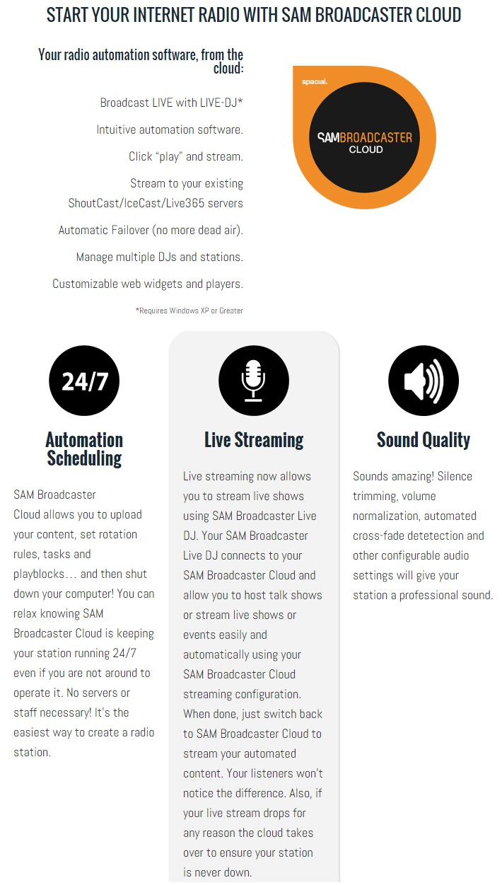 SAM Broadcaster Cloud Automation Scheduling, Live Streaming and Sound Quality Feature