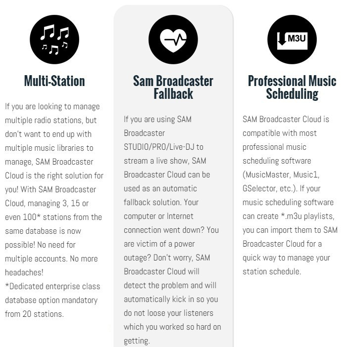 SAM Broadcaster Cloud Multi-Station, Sam Broadcaster Fallback and Professional Music Scheduling Feature