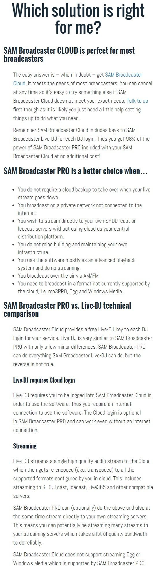 SAM Broadcaster PRO vs SAM Broadcaster Cloud comparison